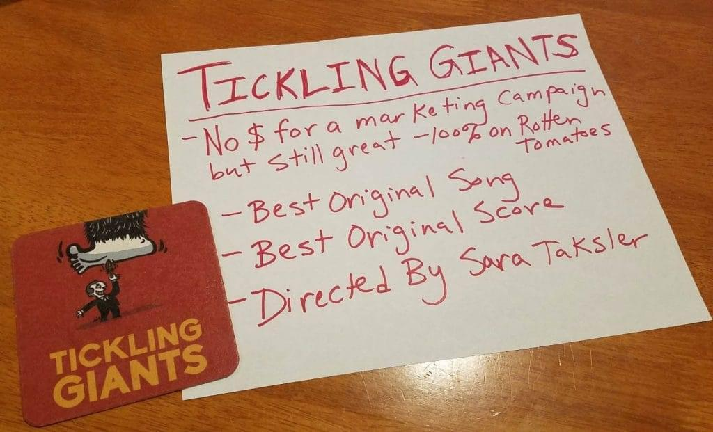 Tickling Giants Shortlisted for Best Original Song. Oscar Voters Take Note! image